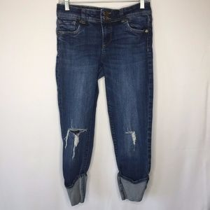 Kut From The Kloth Size 2 Cuffed Destroyed Jeans